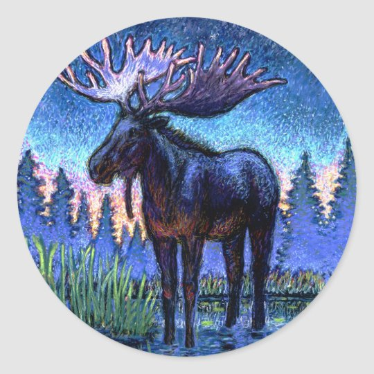 Moose At Dawn Classic Round Sticker