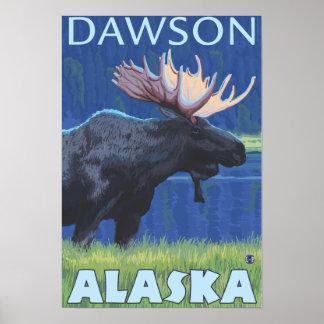 Moose at Night - Dawson, Alaska Poster