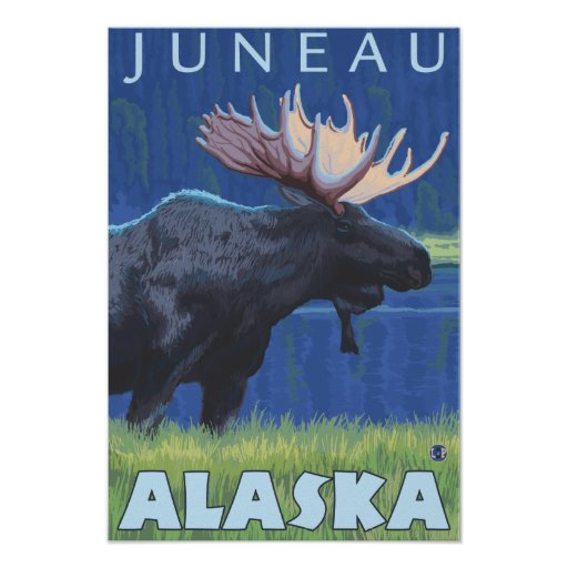 Moose at Night - Juneau, Alaska Poster