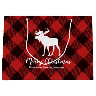 Moose & Buffalo  Red and Black Plaid  Christmas Large Gift Bag