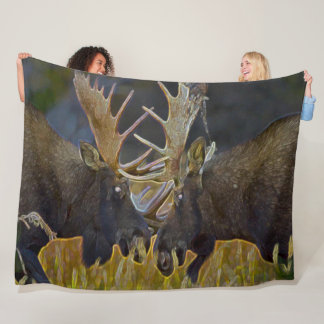 Moose Bull Fight Nature Wildlife Art Fleece Blanket