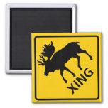 Moose Crossing Highway Sign Fridge Magnets