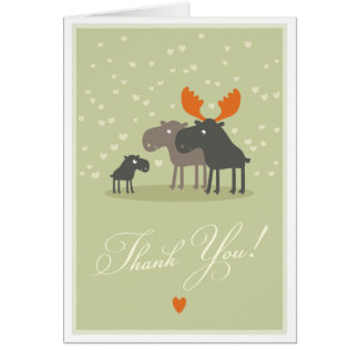 Moose Deer Family Baby Shower Thank You Card