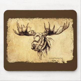 Moose Drawing Faux Leather Mouse Pad