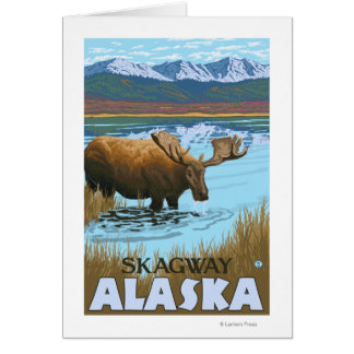 Moose Drinking at Lake - Skagway, Alaska Card