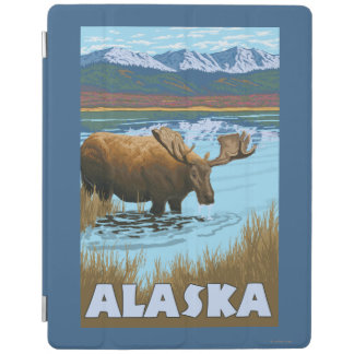 Moose Drinking Water Vintage Travel Poster iPad Cover