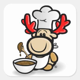 Moose Elmondo with the cake bake Square Sticker