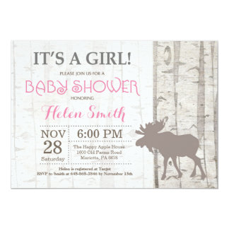 Moose Girl Baby Shower Invitation Rustic Woodland