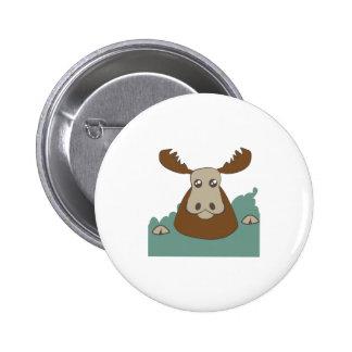 Moose Head Pinback Button