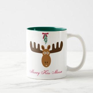 Moose Head_Merry Kiss Moose_Happy Gnu Year! Two-Tone Coffee Mug