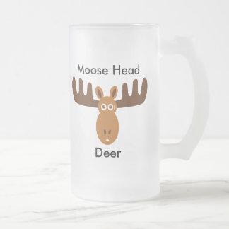 Moose Head_Moose Head Deer 16 Oz Frosted Glass Beer Mug