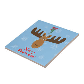 Moose Head_Mooseltoe_Merry Kissmoose! Tile
