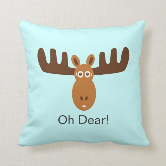 Moose Head_Oh Dear! Throw Pillow