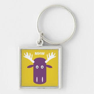 Moose Head Pop Art custom monogram key chain
