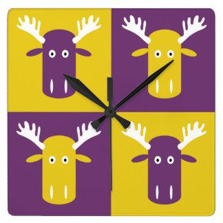 Moose Head Pop Art wall clock