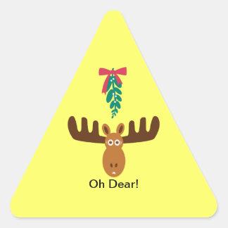 Moose Head_Road Sign_Mistletoe_Oh Dear! Triangle Sticker