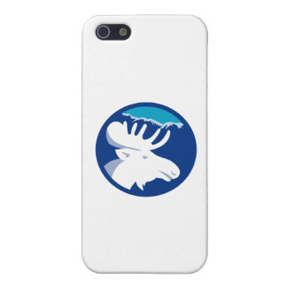 Moose Head Side View Circle Retro Case For iPhone 5/5S
