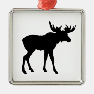 Moose Icon Silver-Colored Square Ornament