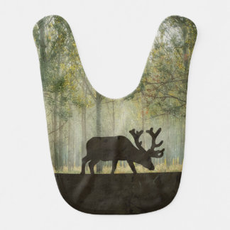 Moose in Forest Illustration Baby Bibs