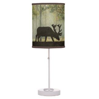 Moose in Forest Illustration Table Lamps
