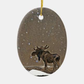 Moose in Snow Ceramic Ornament
