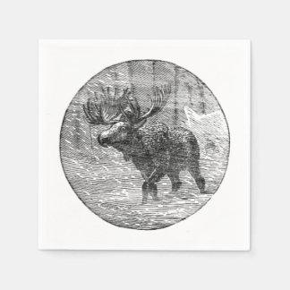 Moose in Snow Emblem Paper Napkin