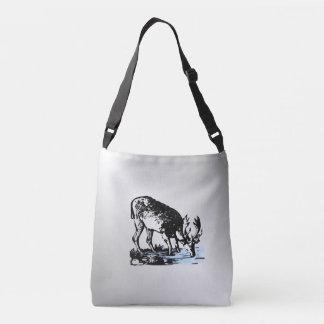 Moose in Stream Crossbody Bag