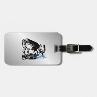 Moose in Stream Luggage Tag