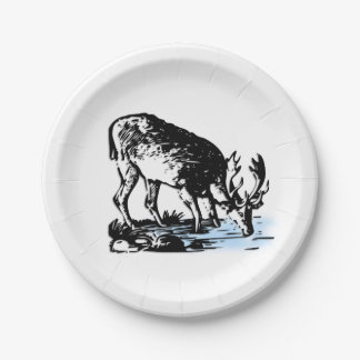 Moose in Stream Paper Plate