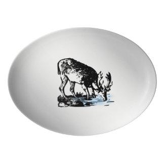 Moose in Stream Porcelain Serving Platter
