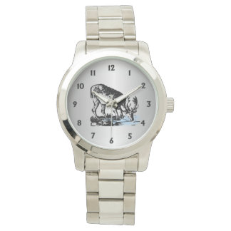 Moose in Stream Wrist Watches
