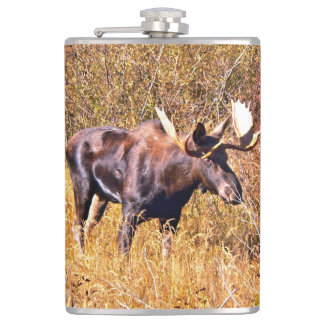 Moose in the autumn hip flask