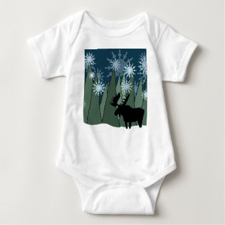 Moose in the Snowy Forest Baby Bodysuit