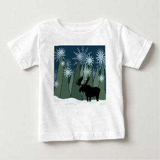 Moose in the Snowy Forest Baby T-Shirt