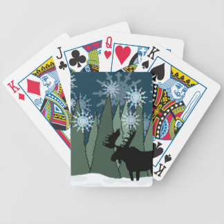 Moose in the Snowy Forest Bicycle Playing Cards