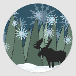 Moose in the Snowy Forest Classic Round Sticker