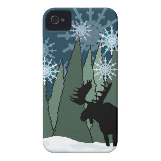 Moose in the Snowy Forest iPhone 4 Case