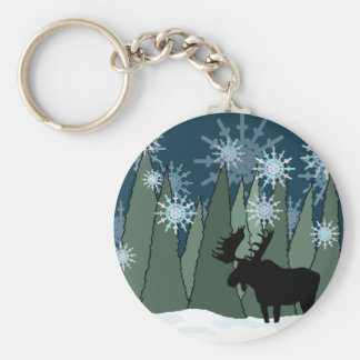 Moose in the Snowy Forest Keychain
