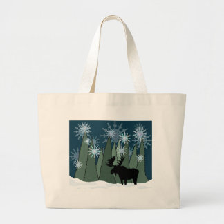 Moose in the Snowy Forest Large Tote Bag