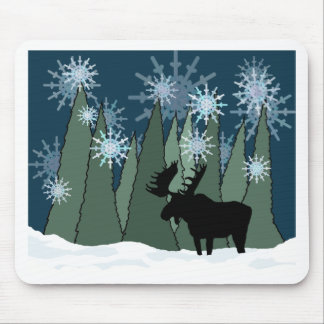 Moose in the Snowy Forest Mouse Pad