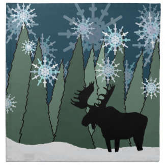 Moose in the Snowy Forest Napkin