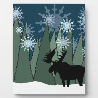 Moose in the Snowy Forest Plaque