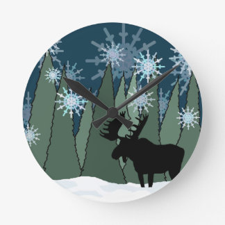 Moose in the Snowy Forest Round Clock