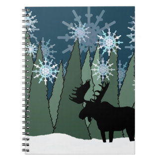Moose in the Snowy Forest Spiral Notebook