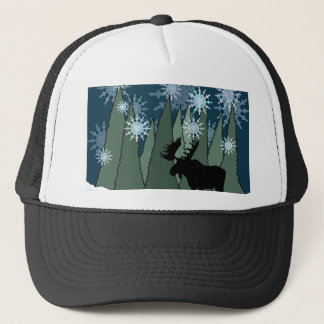 Moose in the Snowy Forest Trucker Hat