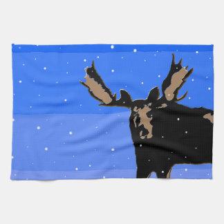 Moose in Winter Kitchen Towel