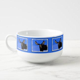 Moose in Winter  - Original Wildlife Art Soup Mug