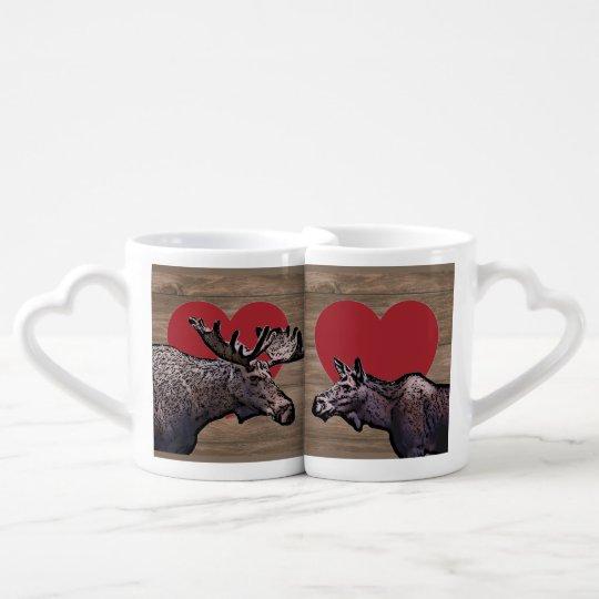 Moose kiss lovers wedding mug set