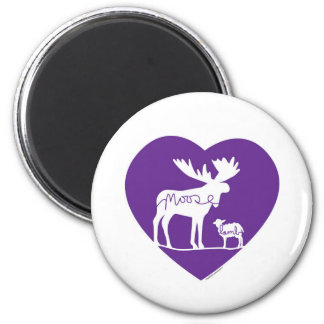 Moose Lamb Love 2 Inch Round Magnet