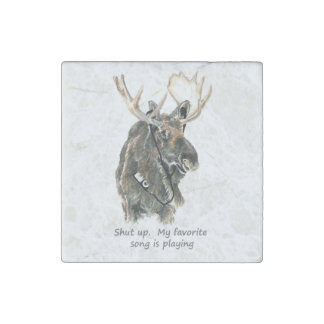 Moose Listening tunes Shut up favorite song Fun Stone Magnets
